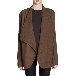 Vince sweater coat cardigan open boiled wool brown